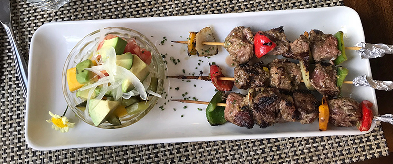 Beef Skewers and Vegetables at Achiote in Quito