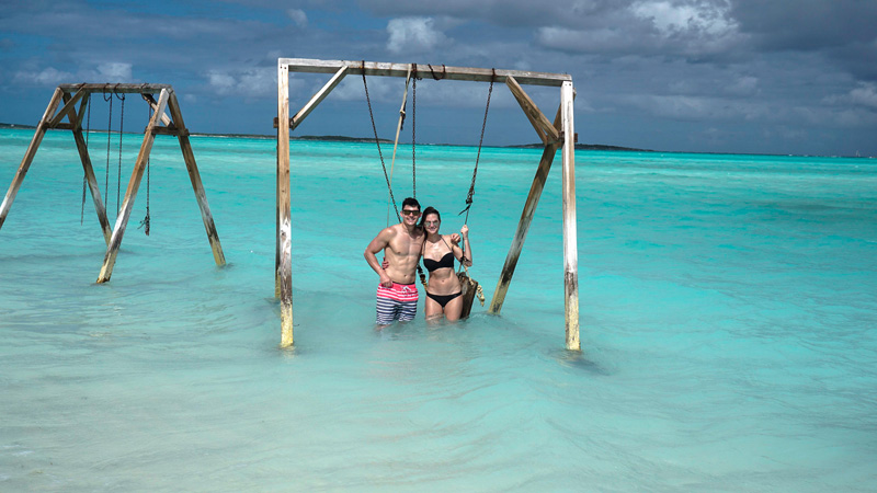 Swingset in Water at Coco Plum Beach