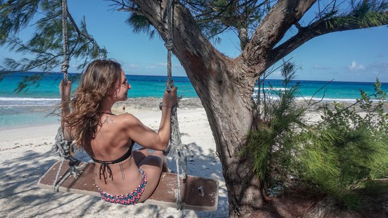 Anna on Beach Tree Swing at Stocking Island